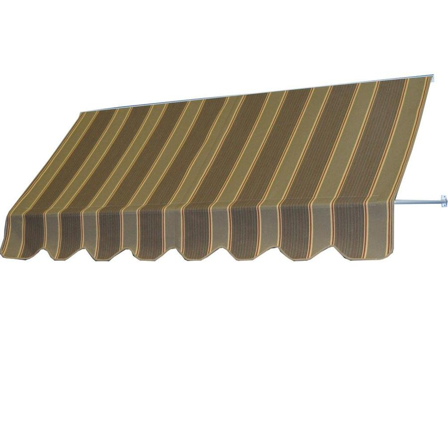 Americana Building Products 96-in Wide x 24-in Projection Eastridge Cocoa Striped Open Slope Low Eave Window Retractable Manual Awning