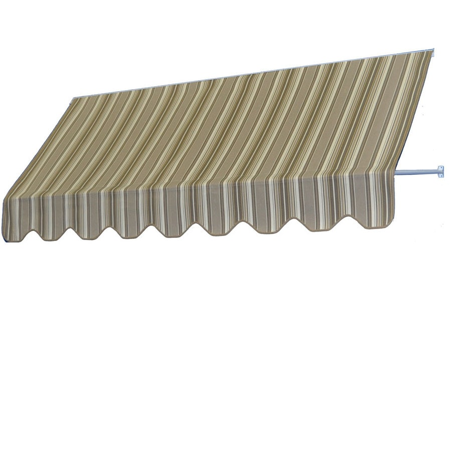 Americana Building Products 90-in Wide x 24-in Projection Westfield Mushroom Striped Open Slope Low Eave Window Retractable Manual Awning