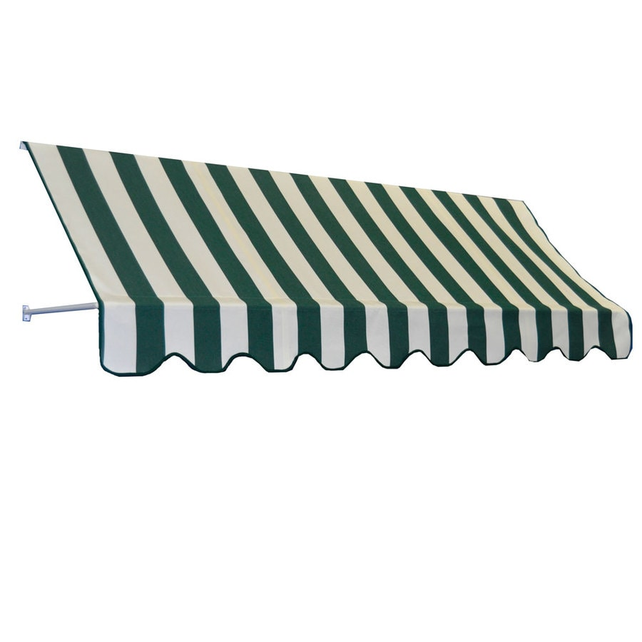 Americana Building Products 90-in Wide x 24-in Projection Beaufort Green Natural Striped Open Slope Low Eave Window Retractable Manual Awning