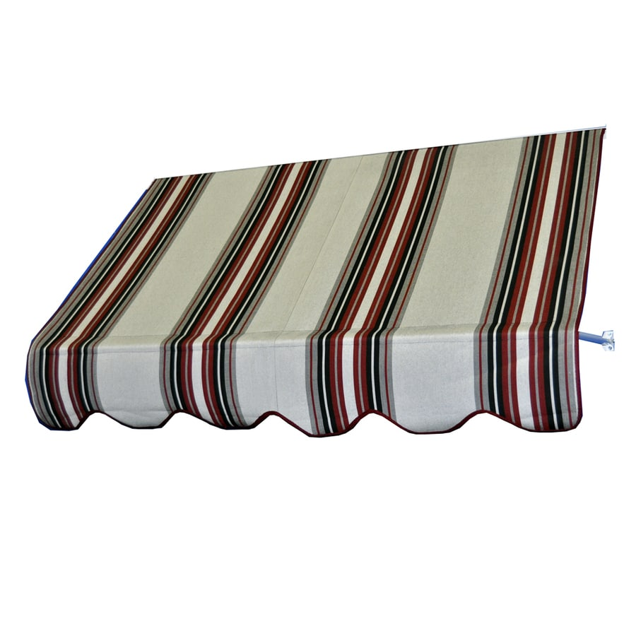 Americana Building Products 90-in Wide x 24-in Projection Burgundy Black White Striped Open Slope Low Eave Window Retractable Manual Awning
