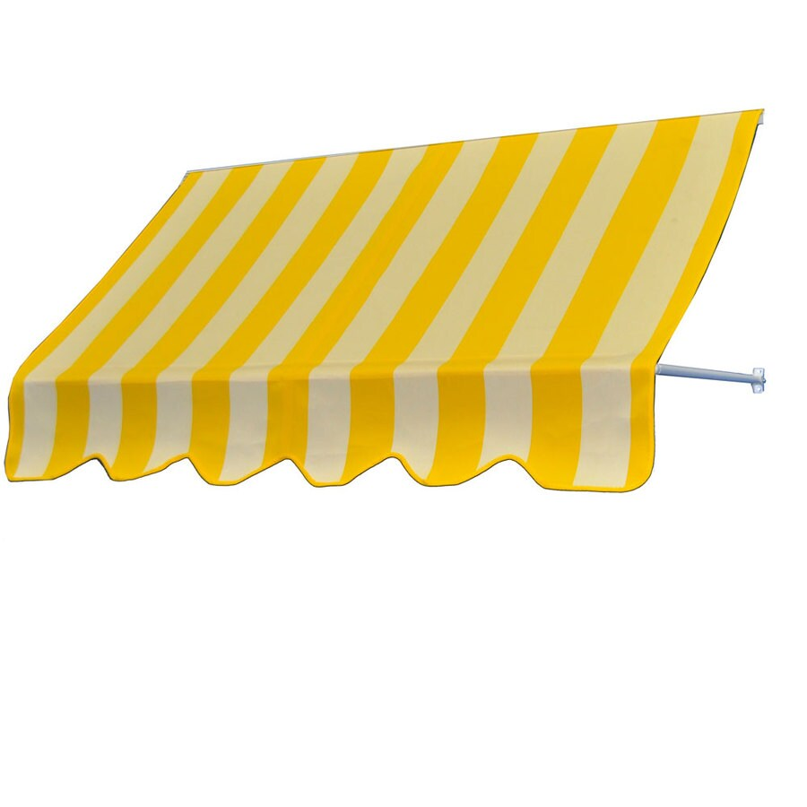 Americana Building Products 42-in Wide x 24-in Projection Beaufort Yellow White Striped Open Slope Low Eave Window Retractable Manual Awning