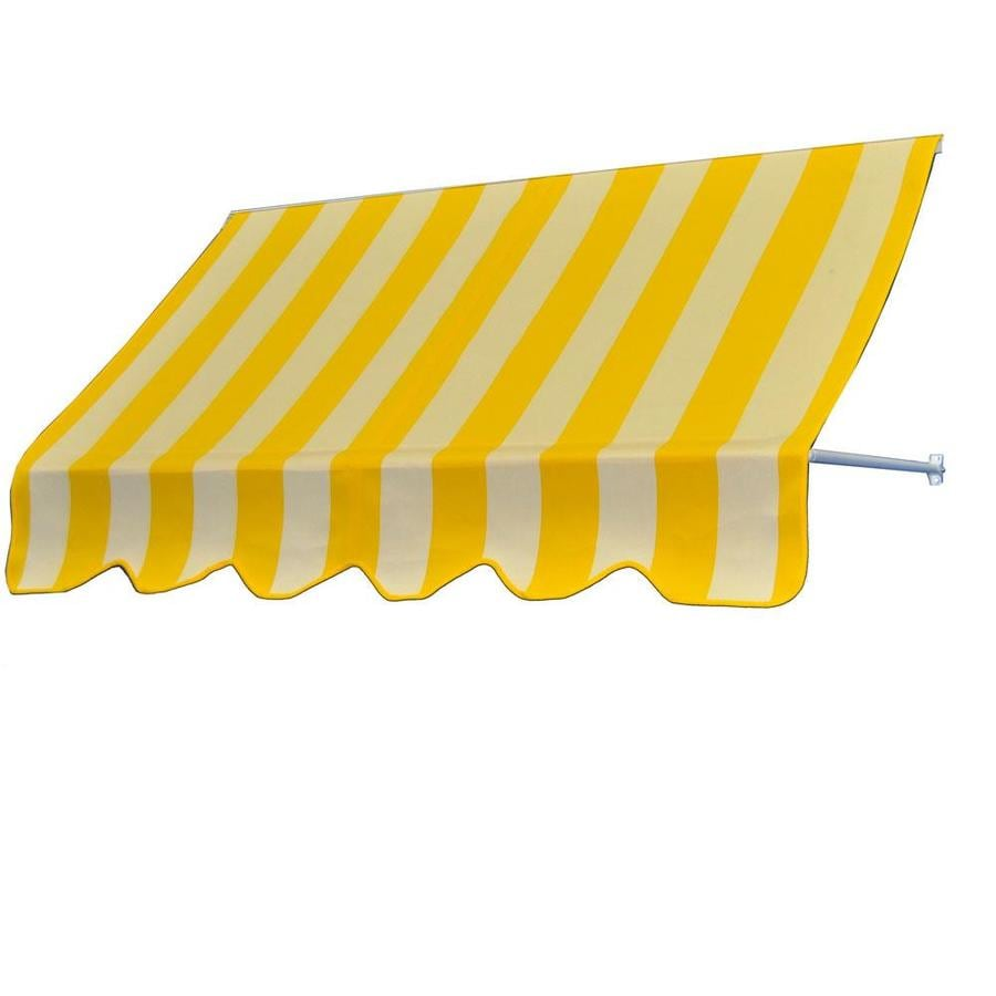 Americana Building Products 96-in Wide x 24-in Projection Beaufort Yellow White Striped Open Slope Low Eave Window Retractable Manual Awning