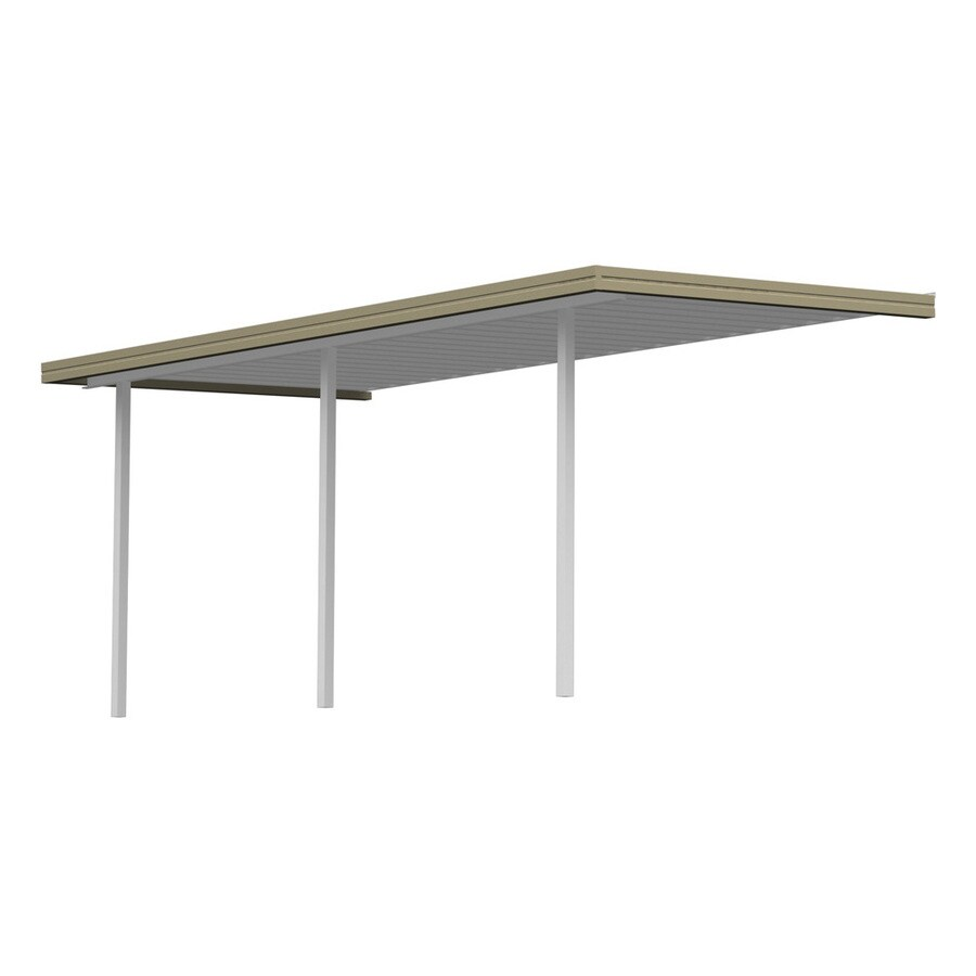 Americana Building Products 16.67-ft x 7-ft x 8-ft Tan Metal Patio Cover