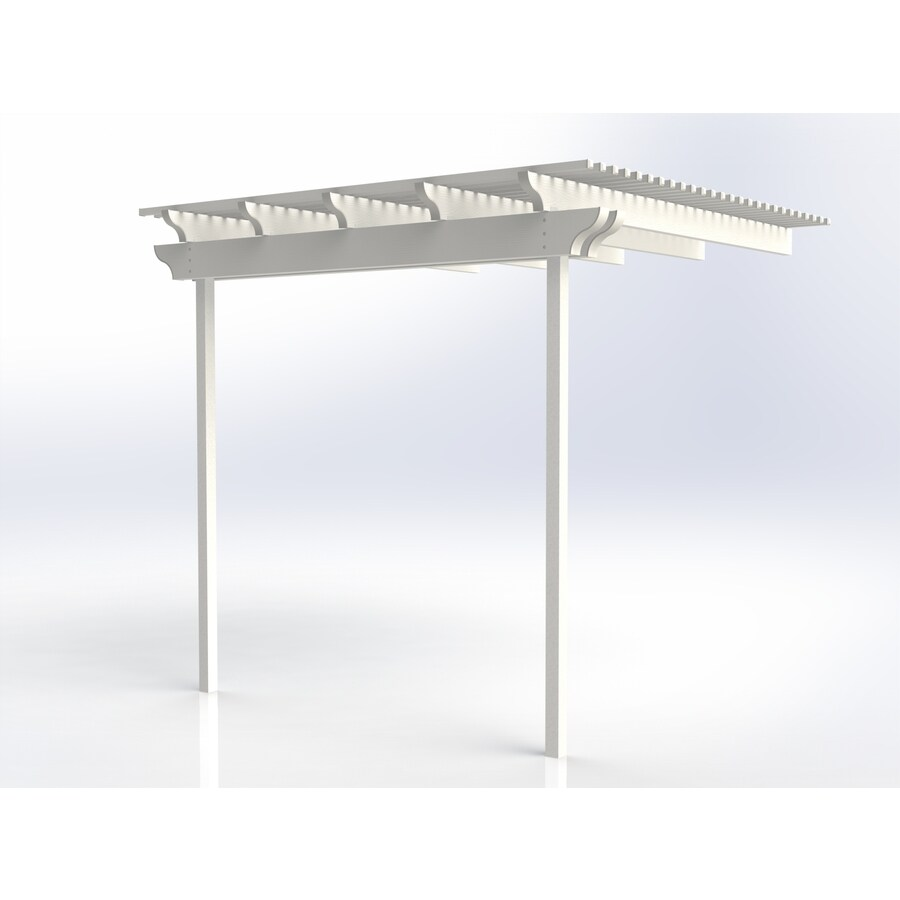 Americana Building Products 120-in W x 120-in L x 112.5-in H White Aluminum Attached Pergola