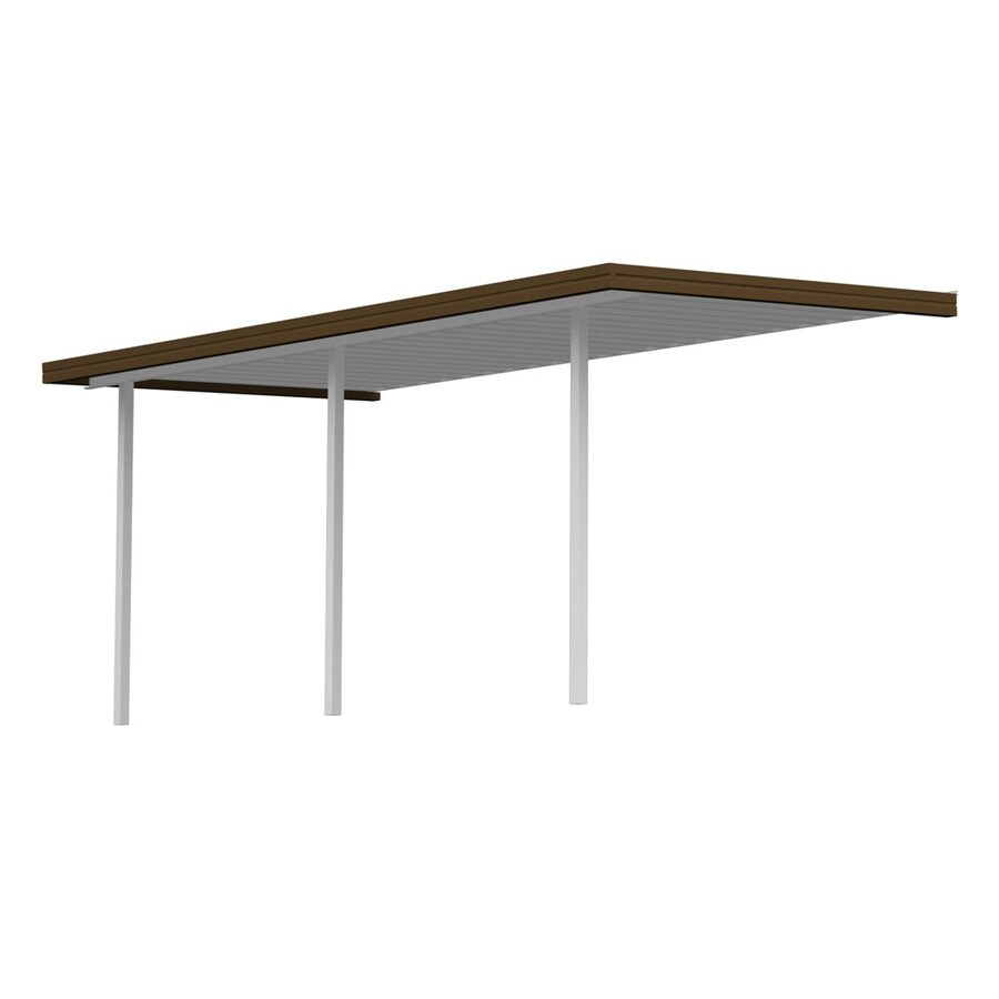 Americana Building Products 18.33-ft x 7-ft x 8-ft Brown Metal Patio Cover