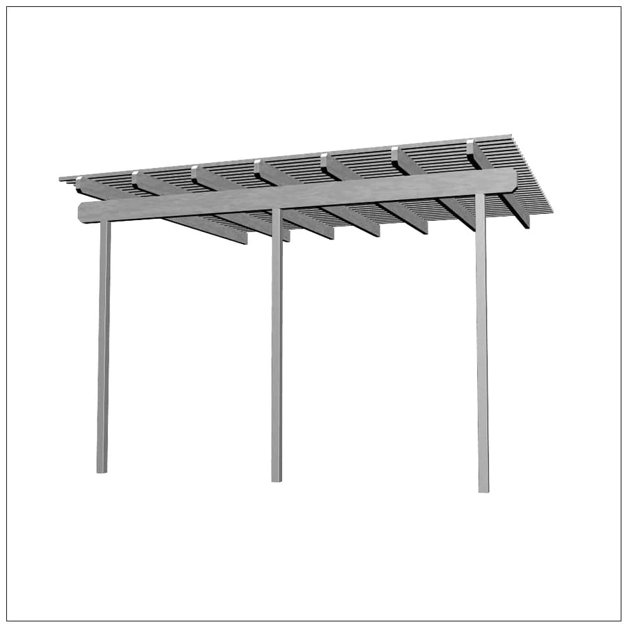 Americana Building Products 168-in W x 192-in L x 112.5-in H White Aluminum Attached Pergola