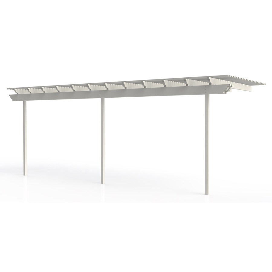 Americana Building Products 120-in W x 300-in L x 112.5-in H White Aluminum Attached Pergola