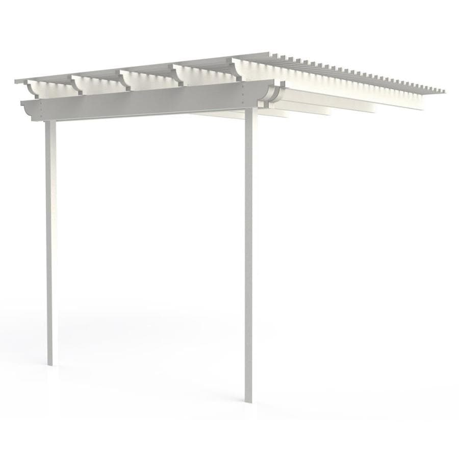 Americana Building Products 144-in W x 120-in L x 112.5-in H White Aluminum Attached Pergola