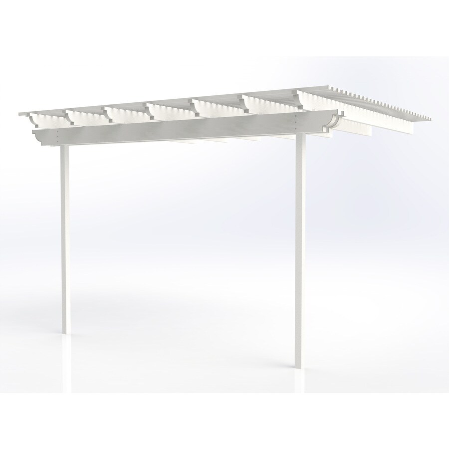Americana Building Products 144-in W x 168-in L x 112.5-in H White Aluminum Attached Pergola