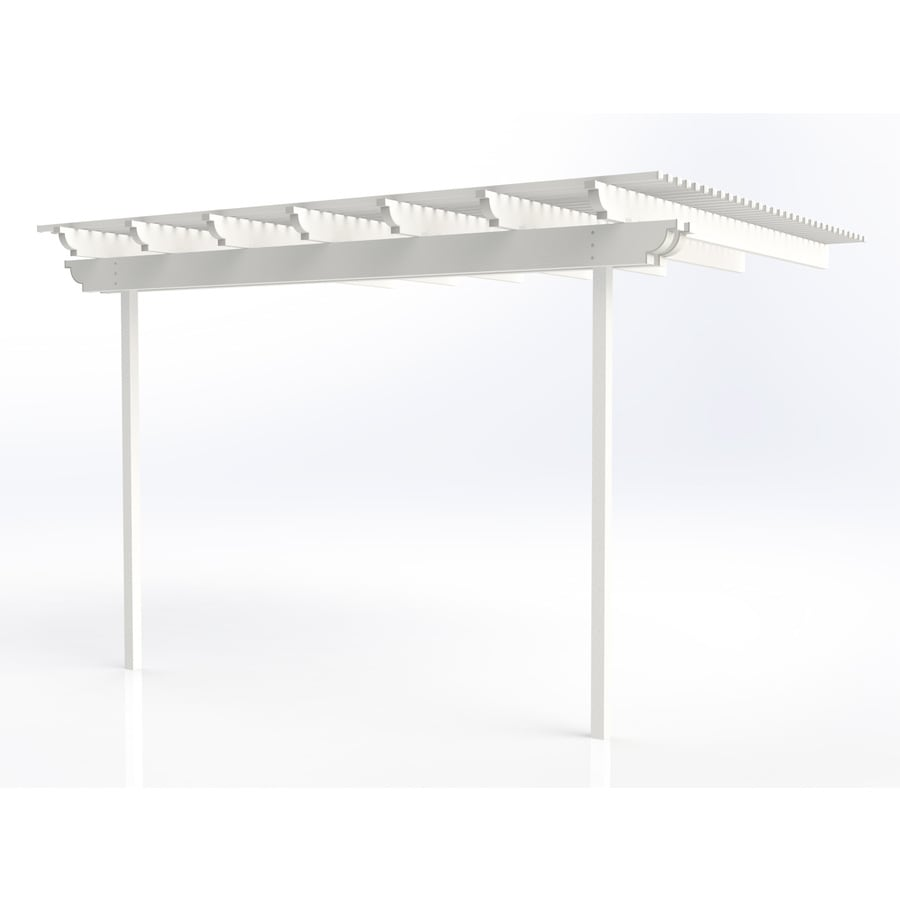Americana Building Products 96-in W x 168-in L x 112.5-in H White Aluminum Attached Pergola