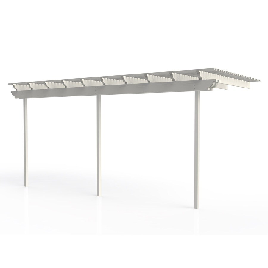 Americana Building Products 96-in W x 216-in L x 112.5-in H White Aluminum Attached Pergola