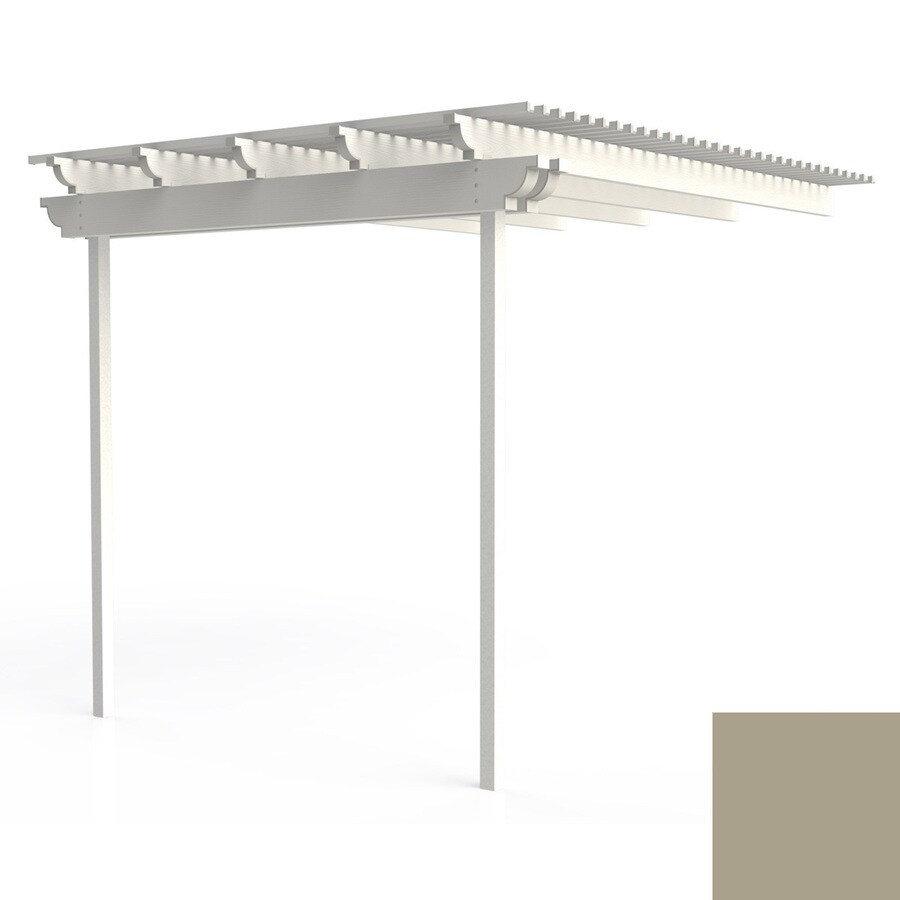 Americana Building Products Americana 120-in W x 96-in L x 112.5-in H Adobe Aluminum Attached Pergola