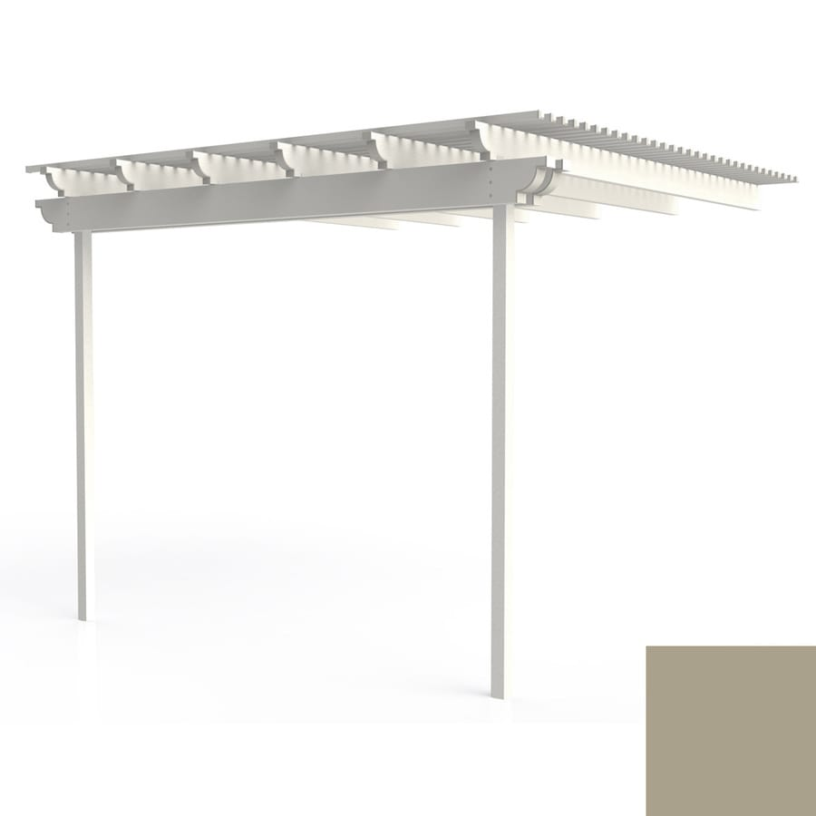 Americana Building Products 144-in W x 144-in L x 112.5-in H Adobe Aluminum Attached Pergola