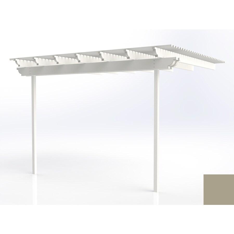 Americana Building Products 144-in W x 168-in L x 112.5-in H Adobe Aluminum Attached Pergola
