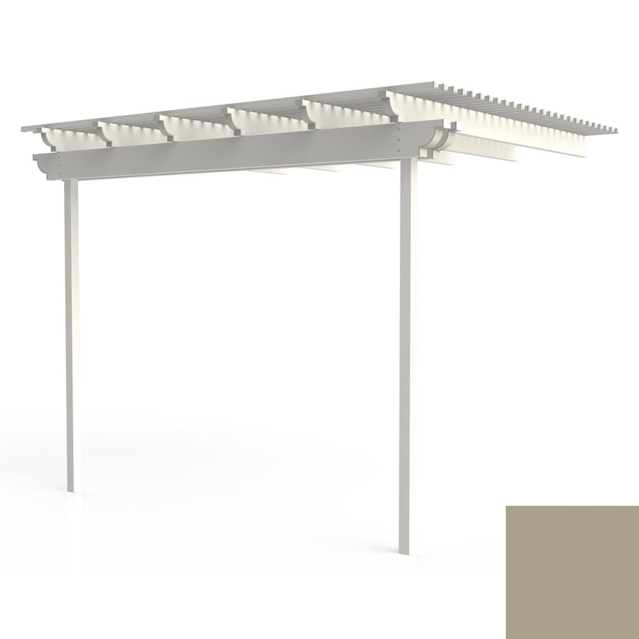 Americana Building Products 96-in W x 144-in L x 112.5-in H Adobe Aluminum Attached Pergola