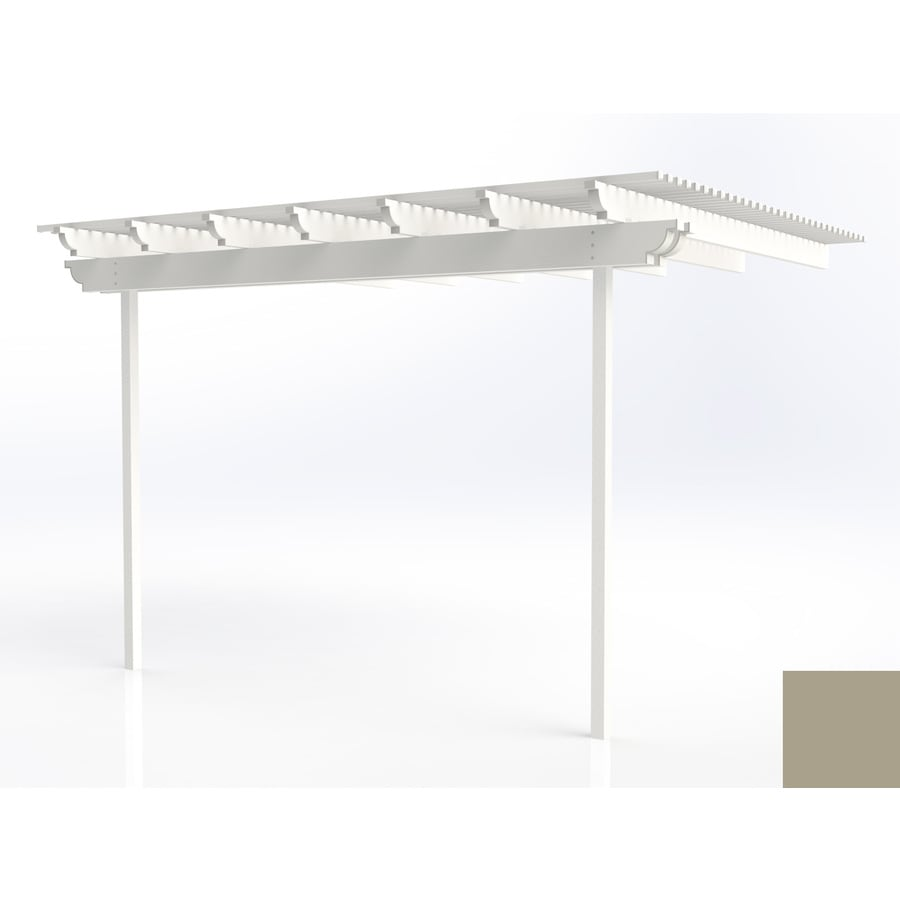 Americana Building Products 96-in W x 168-in L x 112.5-in H Adobe Aluminum Attached Pergola