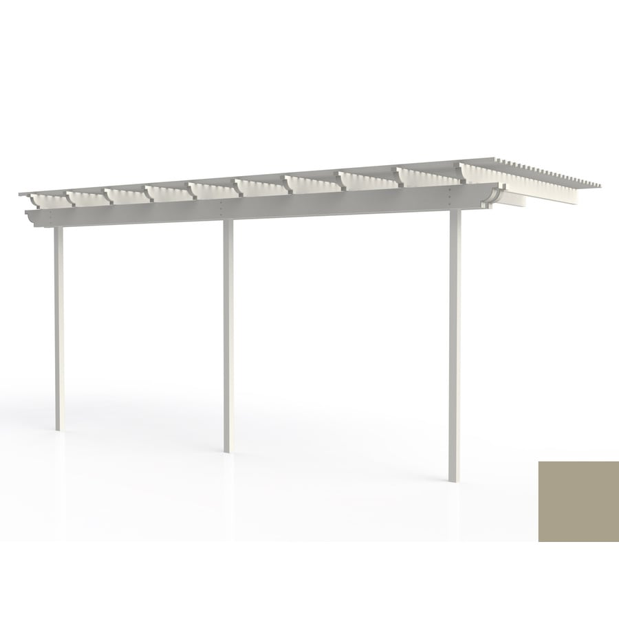 Americana Building Products 96-in W x 240-in L x 112.5-in H Adobe Aluminum Attached Pergola