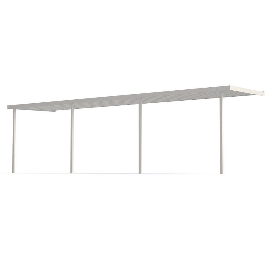 Americana Building Products 30-ft x 10-ft x 8-ft White Metal Single Car Carport
