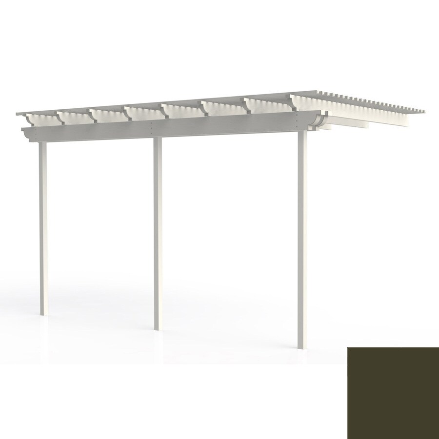 Americana Building Products 144-in W x 168-in L x 112.5-in H Aged Bronze Aluminum Attached Pergola