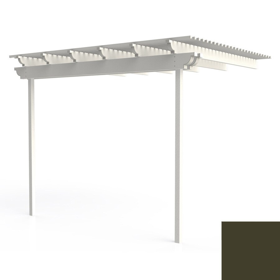 Americana Building Products 96-in W x 144-in L x 112.5-in H Aged Bronze Aluminum Attached Pergola