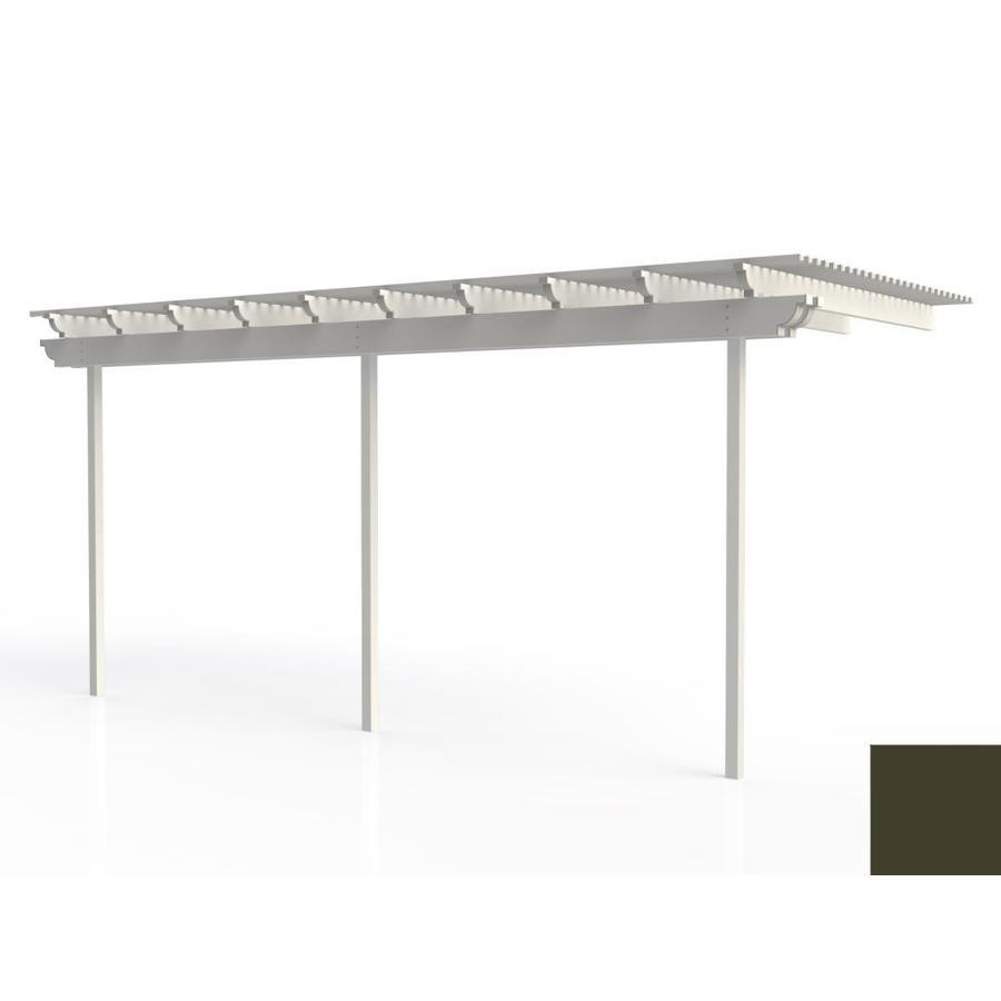 Americana Building Products 96-in W x 240-in L x 112.5-in H Aged Bronze Aluminum Attached Pergola