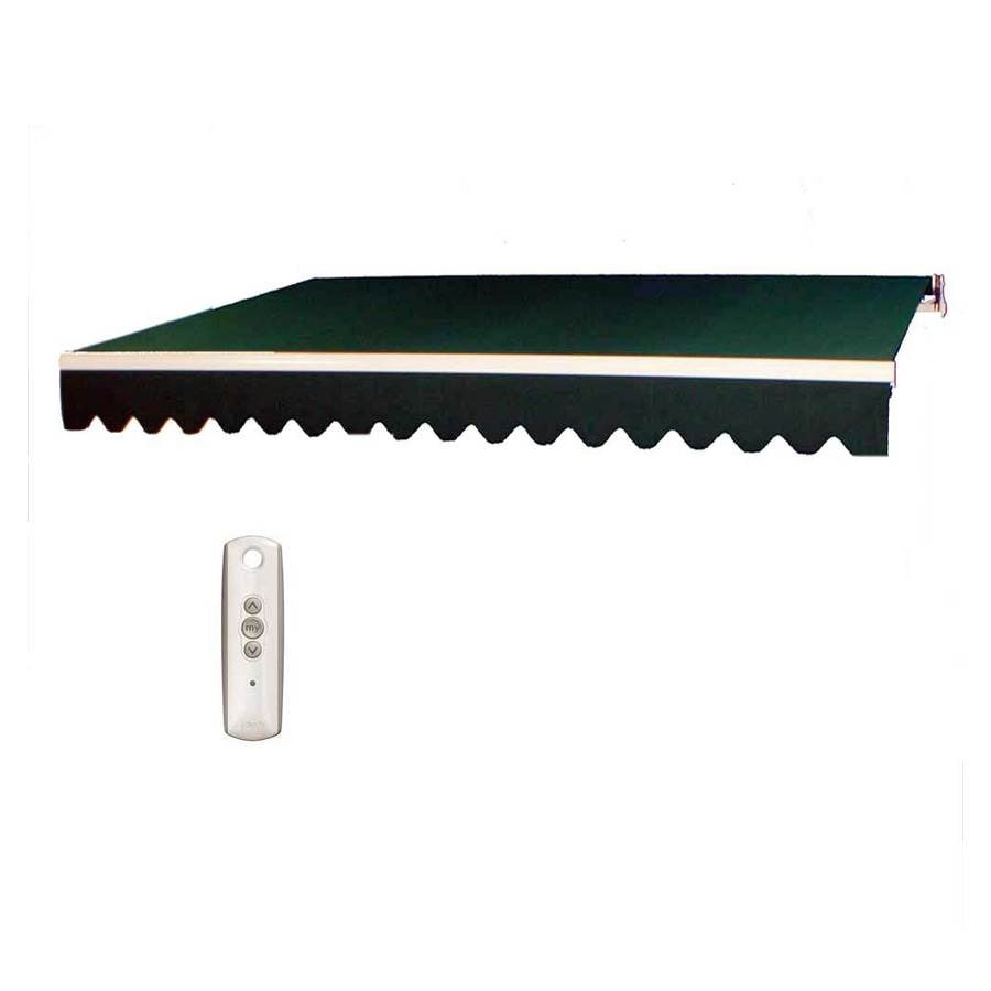 Americana Building Products 160-in Wide x 96-in Projection Forest Green Solid Slope Patio Retractable Motorized Awning