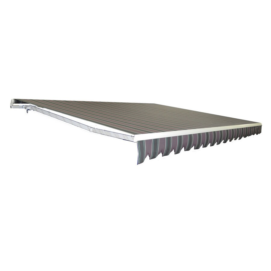 Americana Building Products 132-in Wide x 120-in Projection Plum Fancy Stripe Slope Patio Retractable Motorized Awning