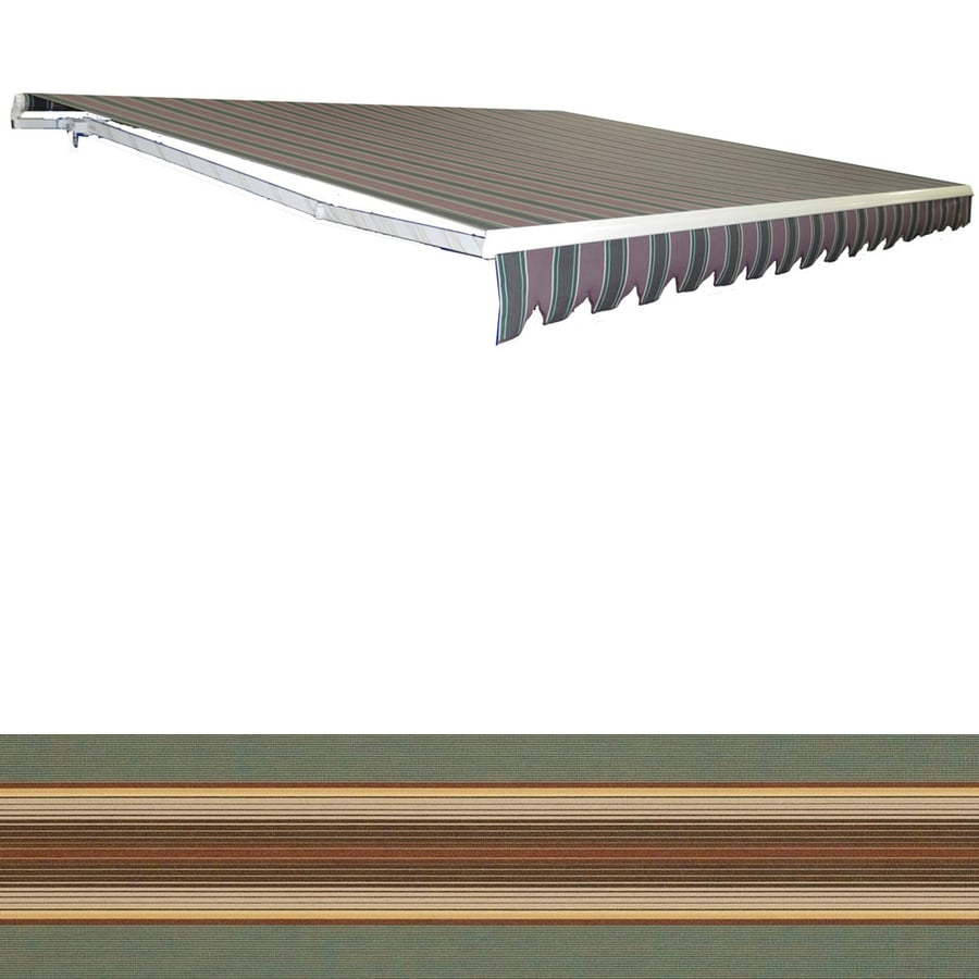 Americana Building Products 120-in Wide x 96-in Projection Sunbrella 4949- Forest Green Vintage Stripe Slope Patio Retractable Manual Awning