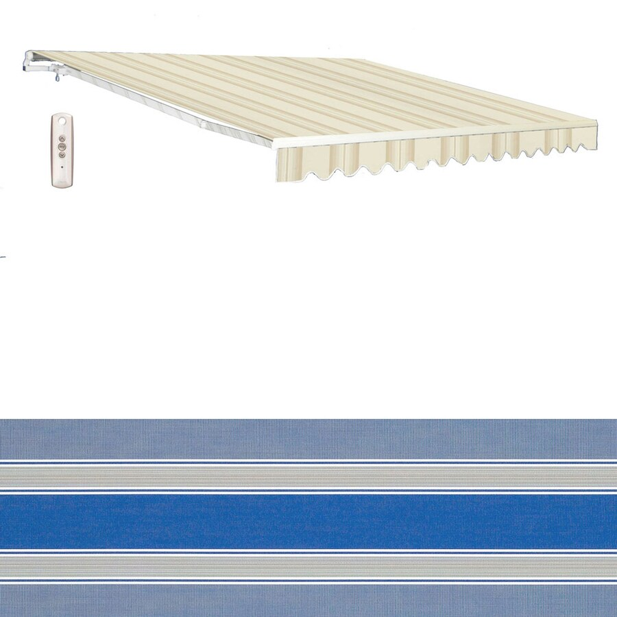 Americana Building Products 238-in Wide x 96-in Projection Sunbrella 4993- Baycrest Pacific Stripe Slope Patio Retractable Remote Control Awning
