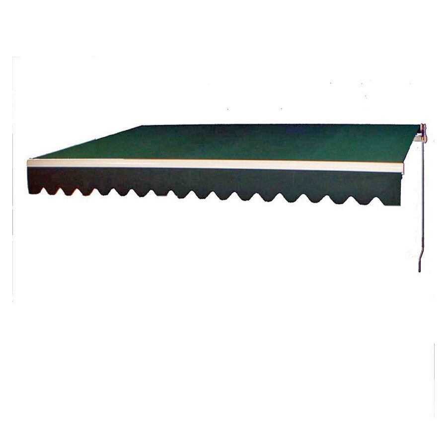 Americana Building Products 160-in Wide x 96-in Projection Forest Green Solid Slope Patio Retractable Manual Awning