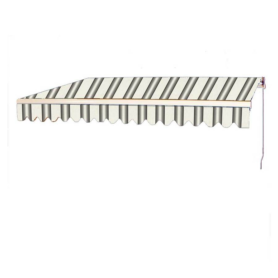 Americana Building Products 132-in Wide x 120-in Projection Grey Stripe Slope Patio Retractable Manual Awning