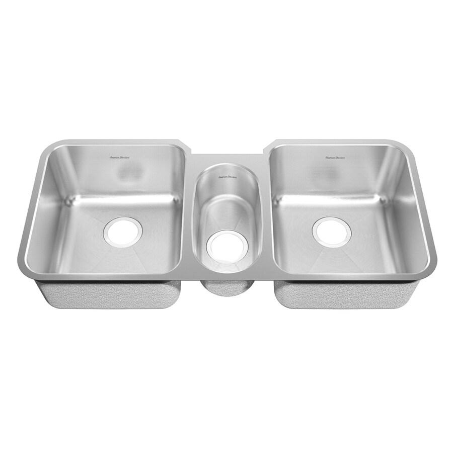 American Standard Previor 21.5-in x 44-in Silk/Brush Triple-Basin Stainless Steel Undermount Residential Kitchen Sink