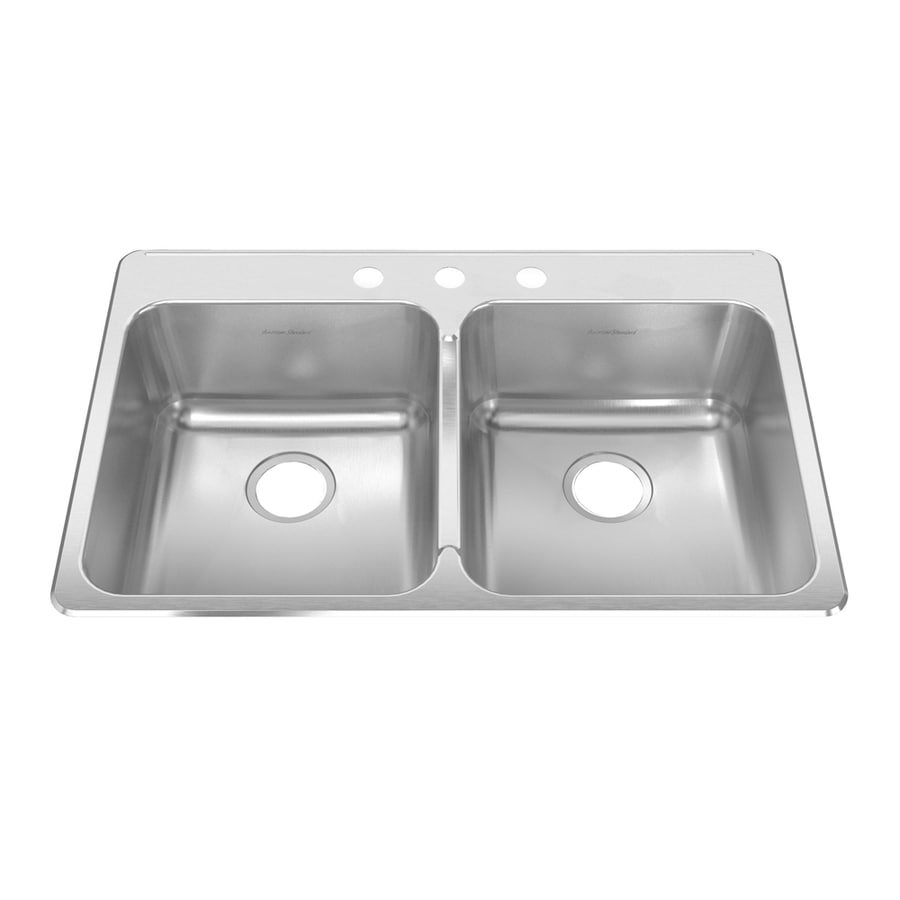 American Standard Prevoir 37.75-in x 25.3125-in Radiant Silk Double-Basin Stainless Steel Drop-in Residential Kitchen Sink