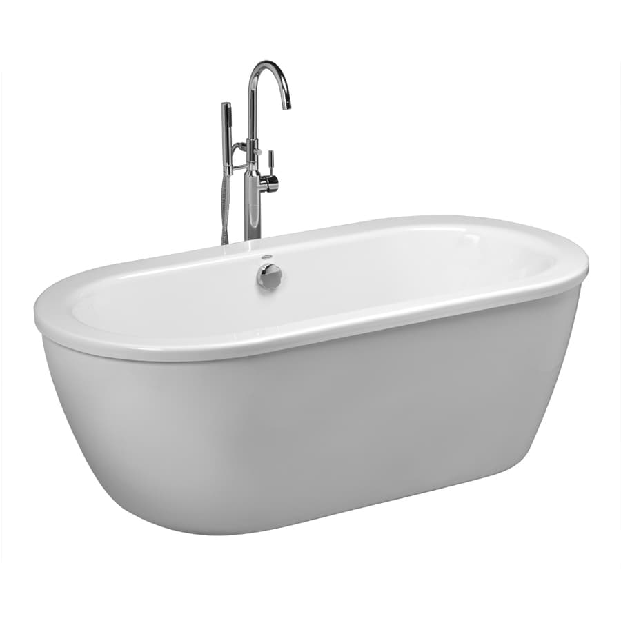 Shop american standard cadet 66 in white acrylic for Free standing bath tub