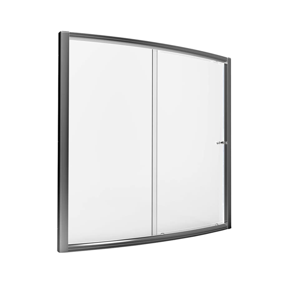 American Standard Saver 59 In W X 57.5 In H Silver Bathtub Door