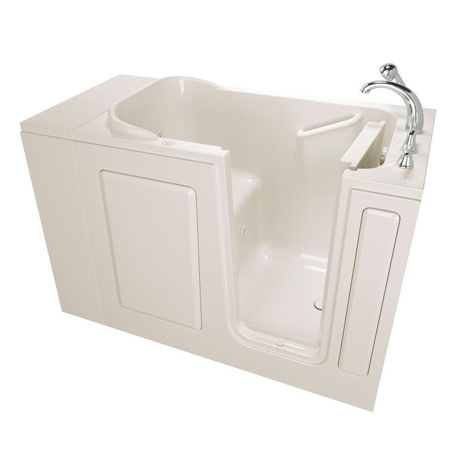 Safety Tubs 48-in Biscuit Gelcoat/Fiberglass Walk-In Whirlpool Tub with Right-Hand Drain