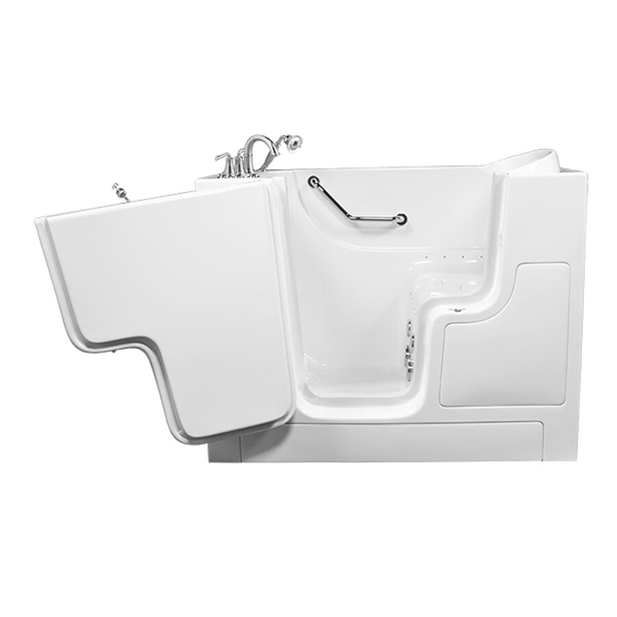 American Standard 52-in L x 30-in W x 40-in H White Gelcoat and Fiberglass Rectangular Walk-in Whirlpool Tub and Air Bath