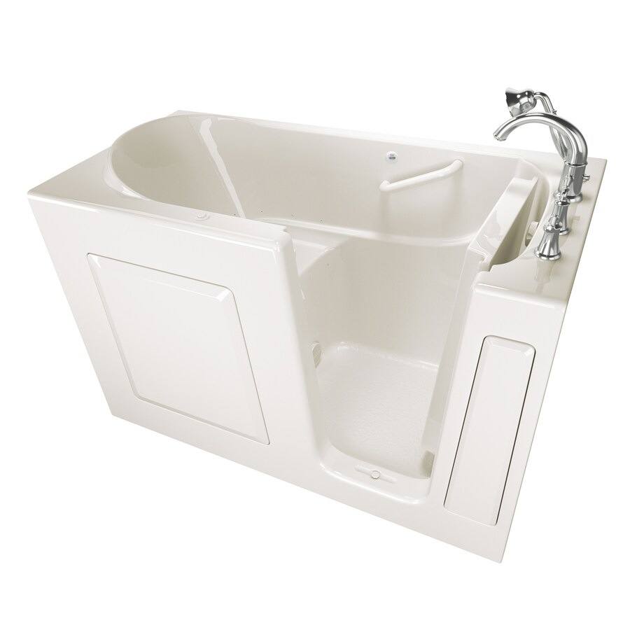 Safety Tubs 59-in Linen Gelcoat/Fiberglass Walk-In Air Bath with Right-Hand Drain