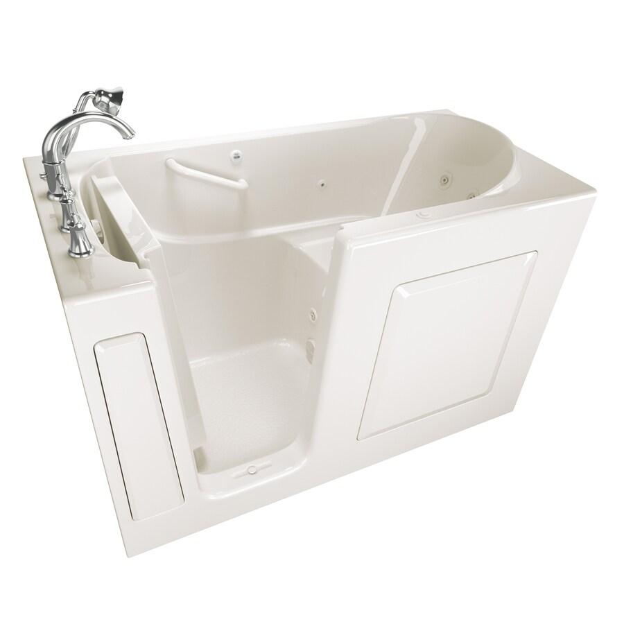 American Standard 59-in Linen Gelcoat/Fiberglass Walk-In Whirlpool Tub with Left-Hand Drain