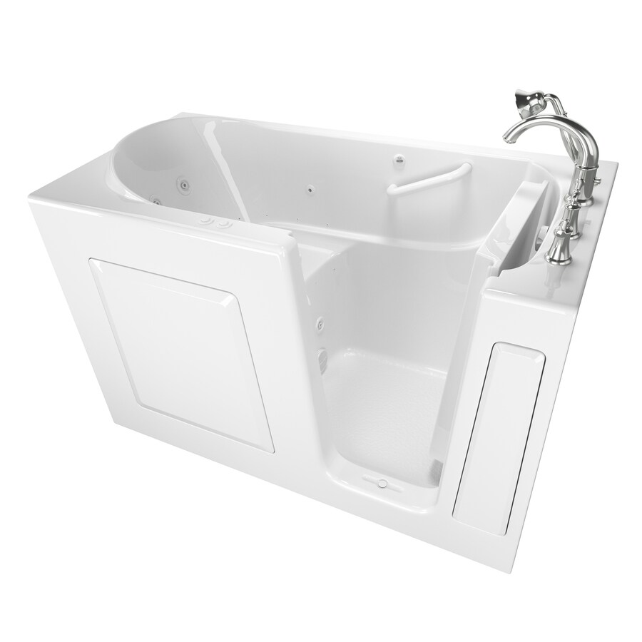 American Standard 59-in White Gelcoat/Fiberglass Walk-In Whirlpool Tub and Air Bath with Right-Hand Drain