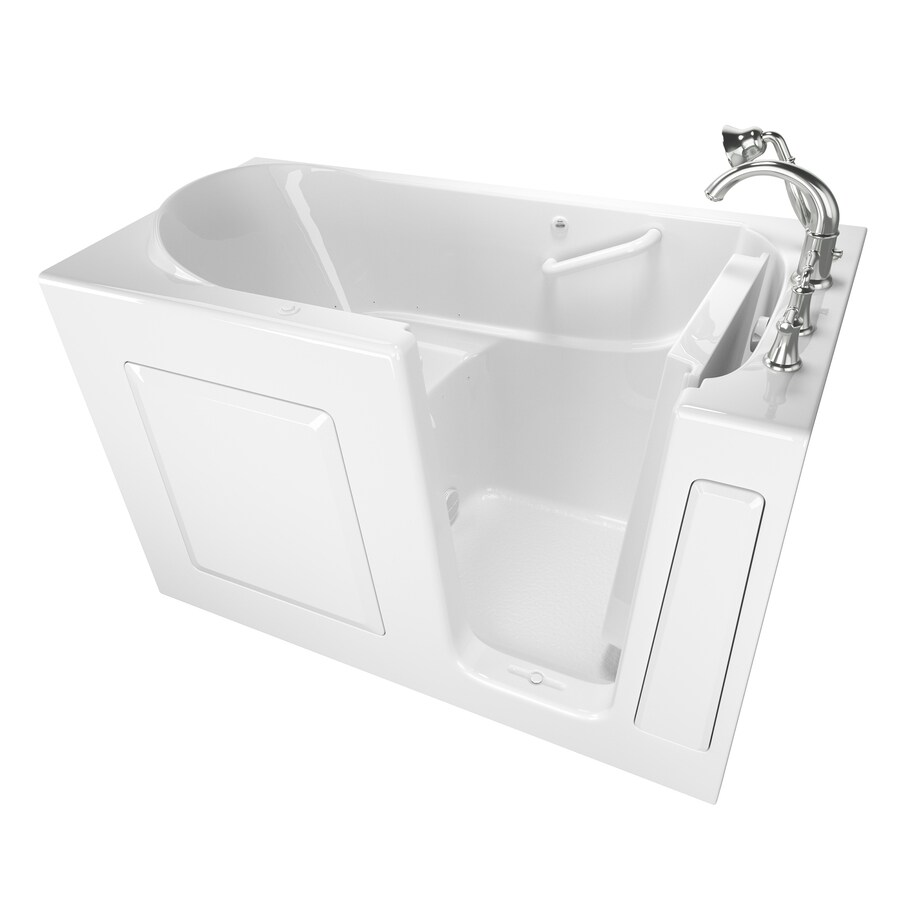 American Standard 59-in L x 30-in W x 37-in H White Gelcoat/Fiberglass 1-Person-Person Rectangular Walk-in Air Bath