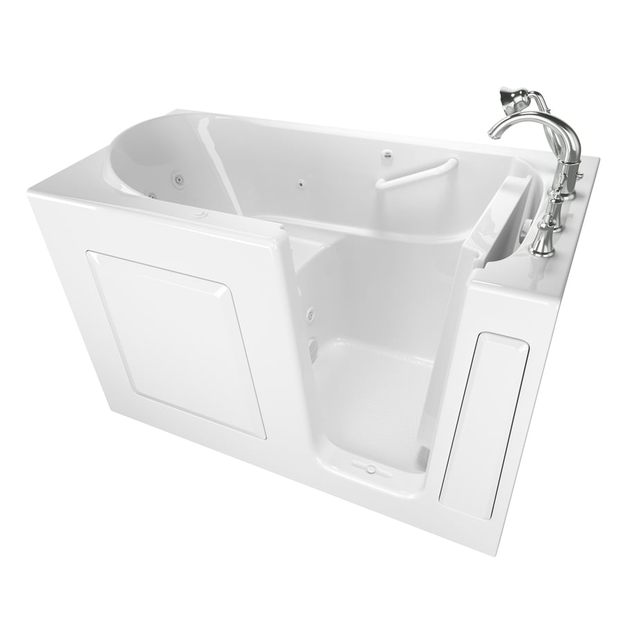 Safety Tubs 59-in White Gelcoat/Fiberglass Walk-In Whirlpool Tub with Right-Hand Drain