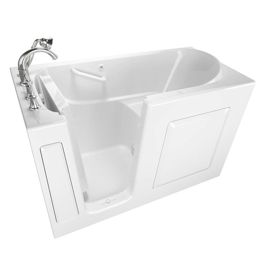 American Standard 59-in White Gelcoat/Fiberglass Walk-In Air Bath with Left-Hand Drain