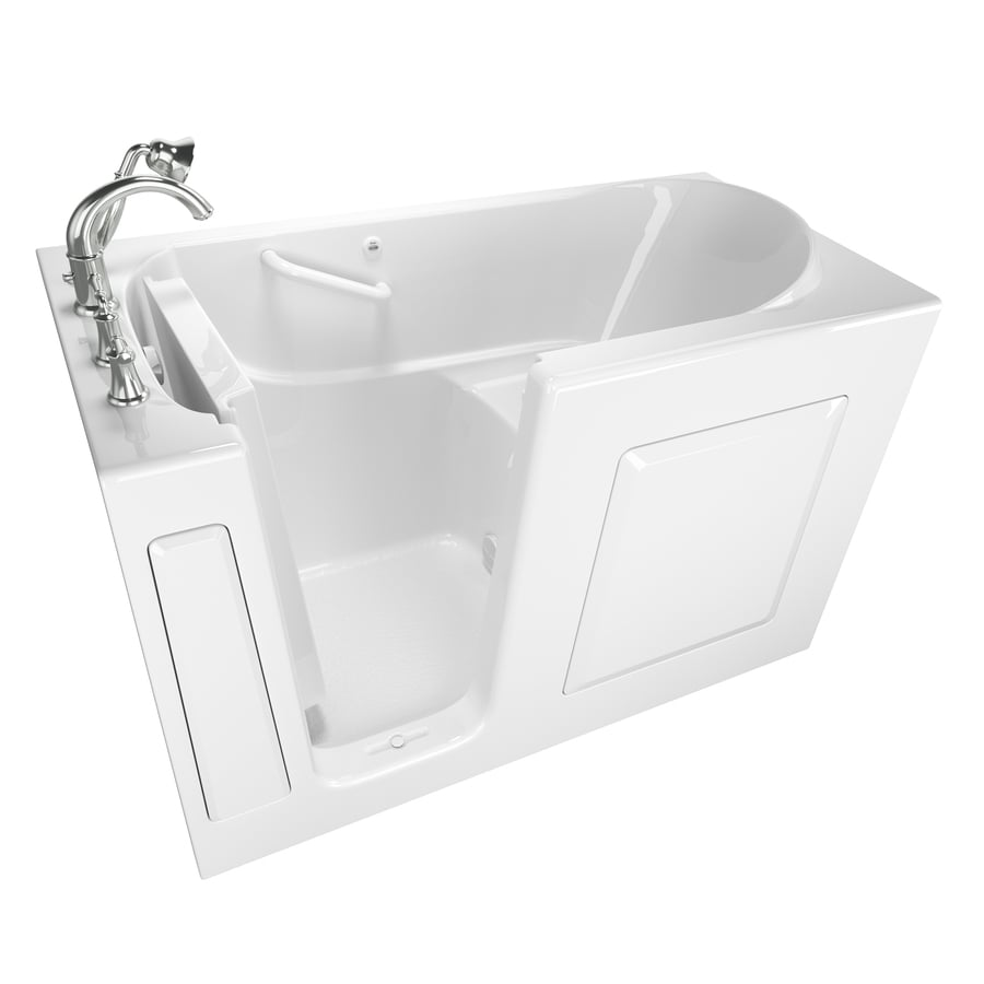American Standard Walk-In 59-in White Gelcoat/Fiberglass Walk-In Bathtub with Left-Hand Drain
