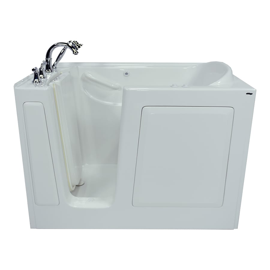 American Standard 50-in L x 30-in W x 37-in H 1-Person White Gelcoat/Fiberglass Rectangular Walk-in Whirlpool Tub and Air Bath