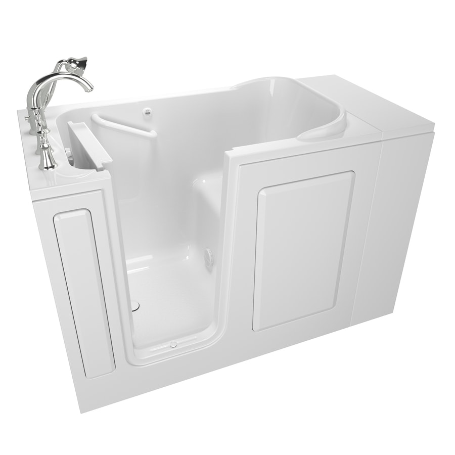 American Standard 48-in White Gelcoat/Fiberglass Walk-In Bathtub with Left-Hand Drain