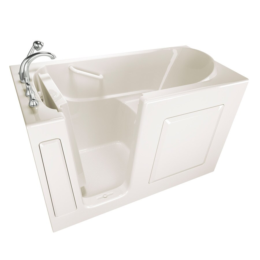 Shop Safety Tubs 59 In Biscuit Gelcoat Fiberglass Walk In Bathtub With Left H