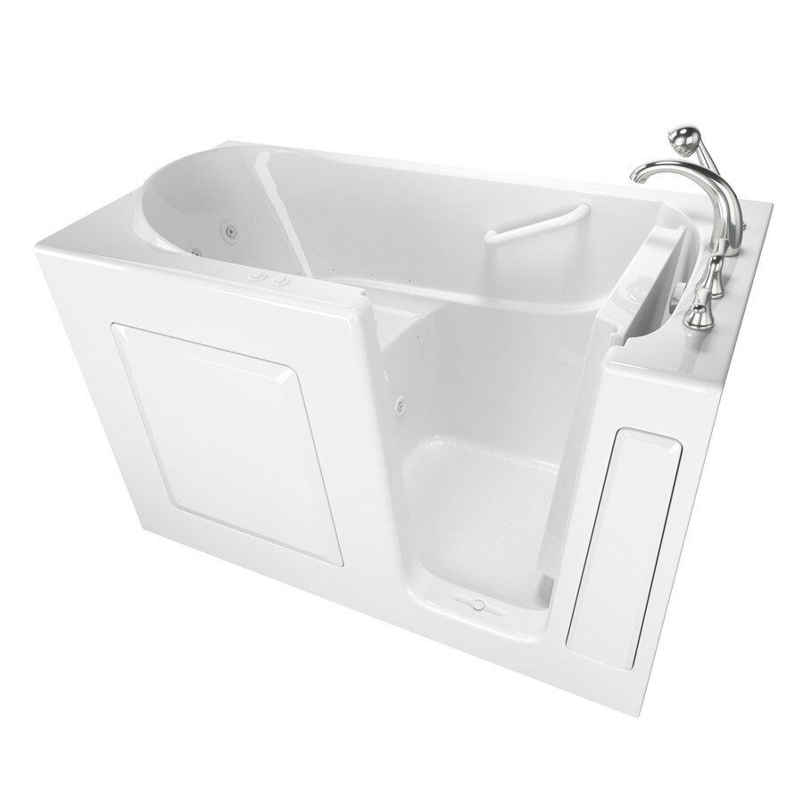 Safety Tubs 59-in White Gelcoat/Fiberglass Walk-In Whirlpool Tub And Air Bath with Right-Hand Drain