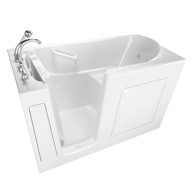 Safety Tubs 30 In W X 59 In L White Gel Coated Fiberglass Rectangular Left Drain Walk In Whirlpool Tub And Faucet Included In The Bathtubs Department At Lowes Com