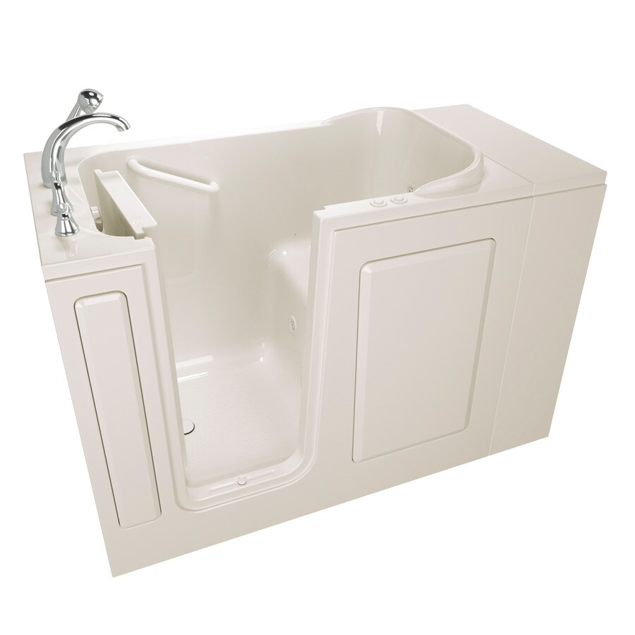 Safety Tubs 48-in Biscuit Gelcoat/Fiberglass Walk-In Whirlpool Tub and Air Bath with Left-Hand Drain